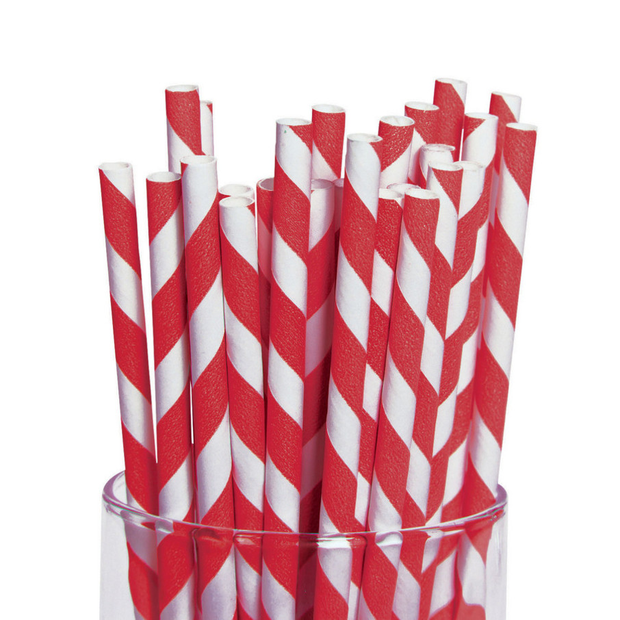 View larger image of Red and White Striped Paper Straws (48)
