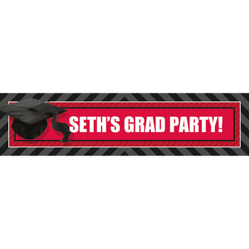 Red Caps Off Graduation Personalized Banner (Each)