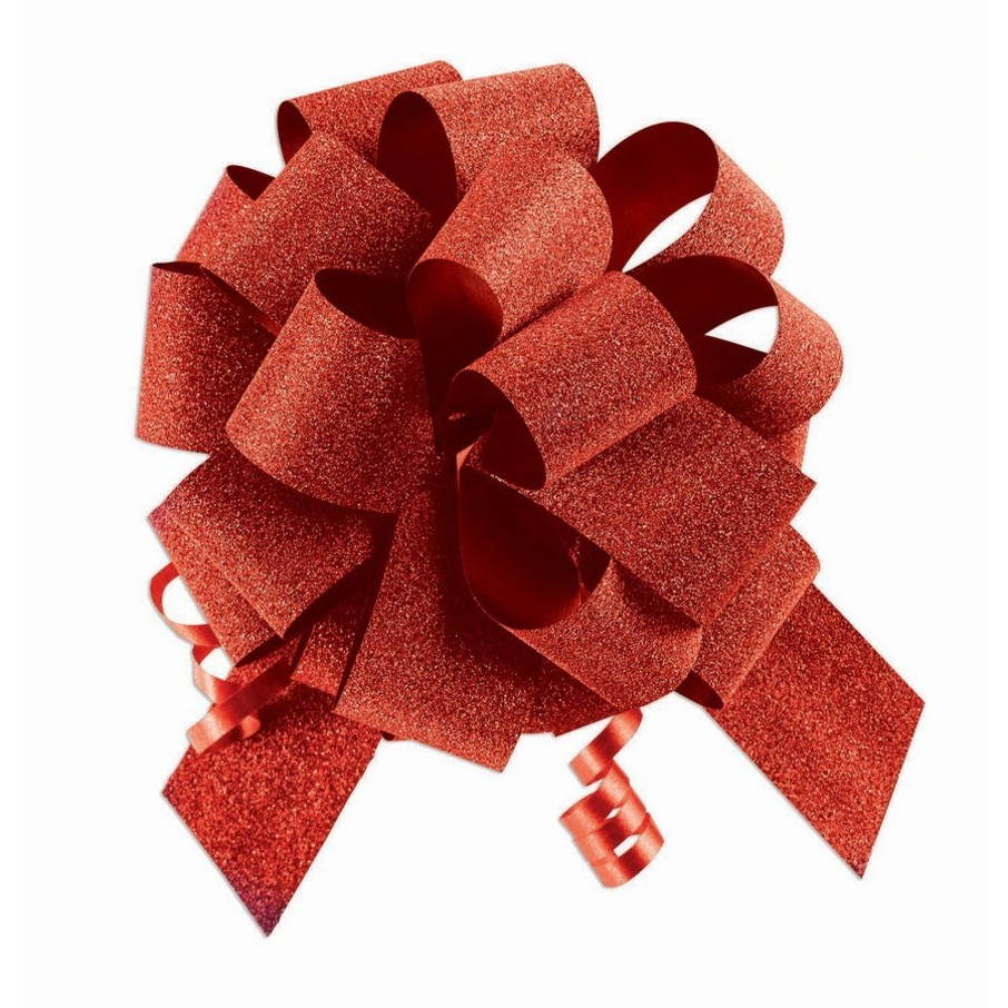 """View larger image of Red Diamond Glitter 5"""" Pull Bow (10 Count)"""