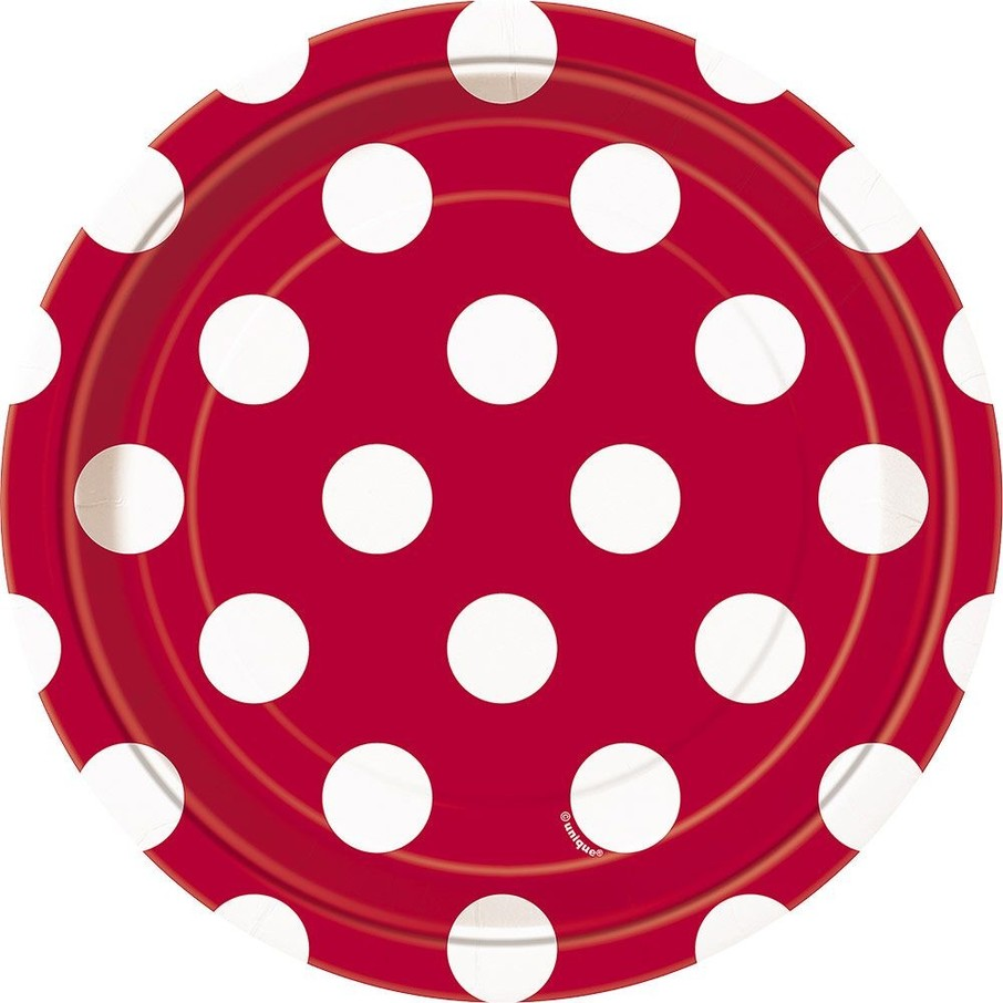 "View larger image of Red Dots 7"" Cake Plates (8 Pack)"