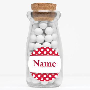 "Red Dots Personalized 4"" Glass Milk Jars (Set of 12)"
