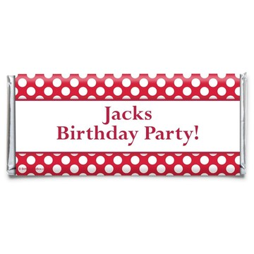 Red Dots Personalized Candy Bar Wrapper (Each)