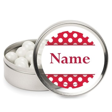 Red Dots Personalized Candy Tins (12 Pack)