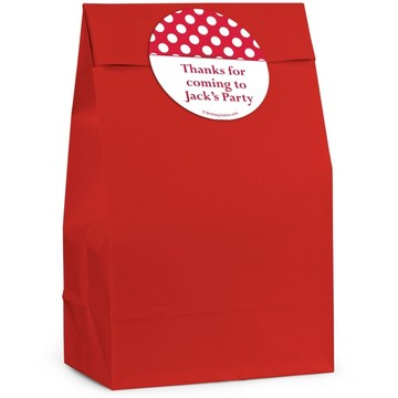 Red Dots Personalized Favor Bag (12 Pack)