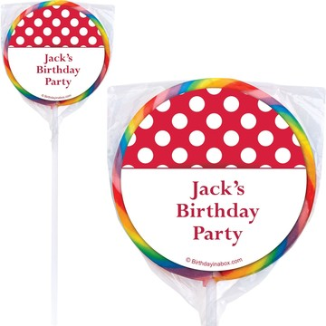 Red Dots Personalized Lollipops (12 Pack)