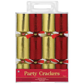 Red/Gold Foil Embossed Paper Crackers (8 Count)