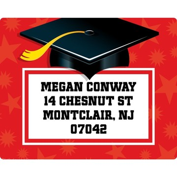 Red Grad Personalized Address Labels (Sheet Of 15)