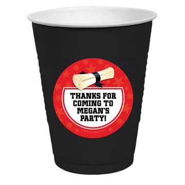 Red Grad Personalized Party Cups, 50ct