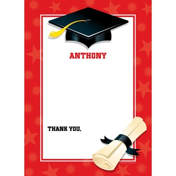 Red Graduation Personalized Thank You (Each)