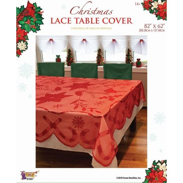 """Red Lace Fabric Tablecover 82"""" x 62"""""""