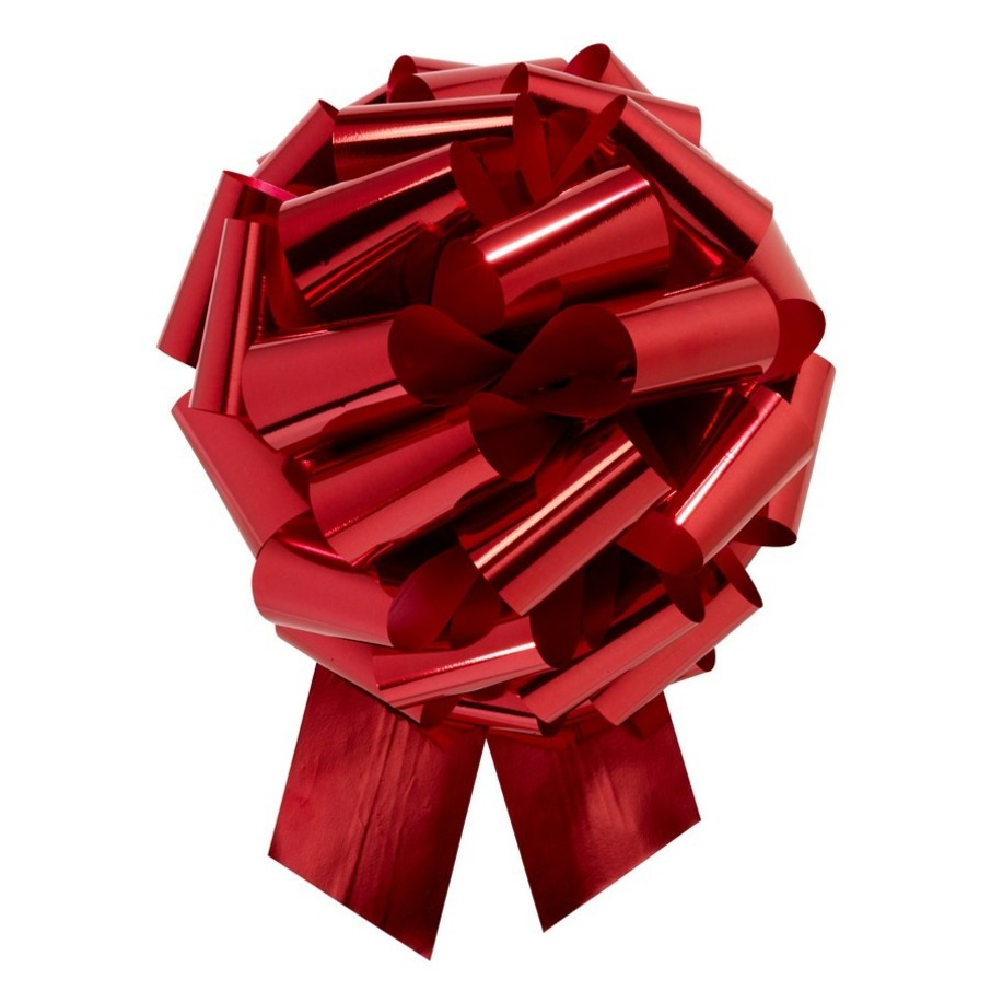 "View larger image of Red Metallic 14"" Pull Bow (10 Count)"