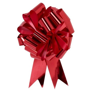 "Red Metallic 5"" Pull Bow (10 Count)"