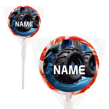"""Red Monster Truck Personalized 2"""" Lollipops (20 Pack)"""