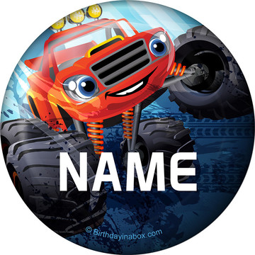Red Monster Truck Personalized Button (Each)