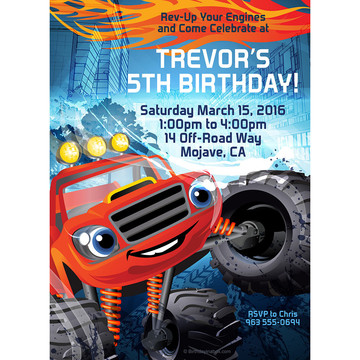 Red Monster Truck Personalized Invitation (Each)