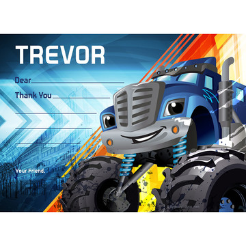 Red Monster Truck Personalized Thank You (Each)