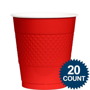 Red Plastic Cups, 12 oz. (20 count)