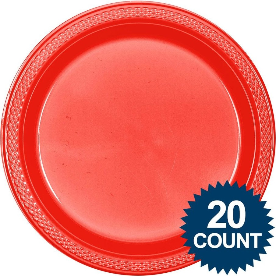 "View larger image of Red Plastic Plates, 10"" (20 count)"