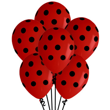 Red Polka Dot Latex Balloons (6)