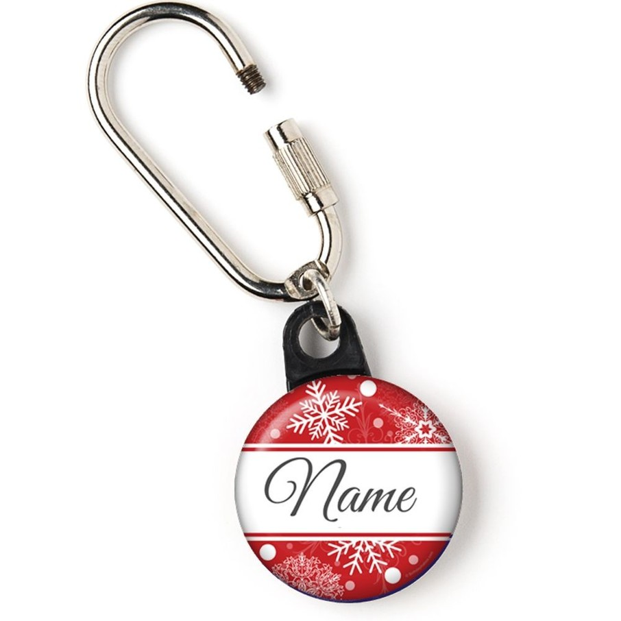 """View larger image of Red Snowflake Personalized 1"""" Carabiner (Each)"""