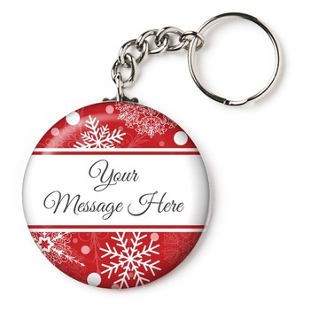 "Red Snowflake Personalized 2.25"" Key Chain (Each)"