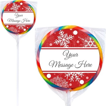 Red Snowflake Personalized Lollipops (12 Pack)
