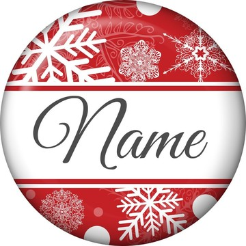 Red Snowflake Personalized Mini Button (Each)