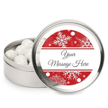 Red Snowflake Personalized Mint Tins (12 Pack)