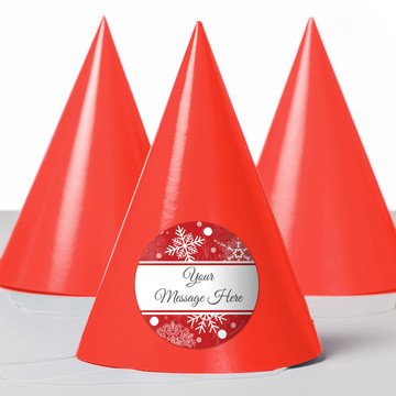 Red Snowflake Personalized Party Hats (8 Count)