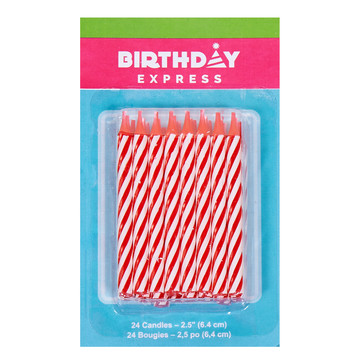 Red Stripe Birthday Candles (24)