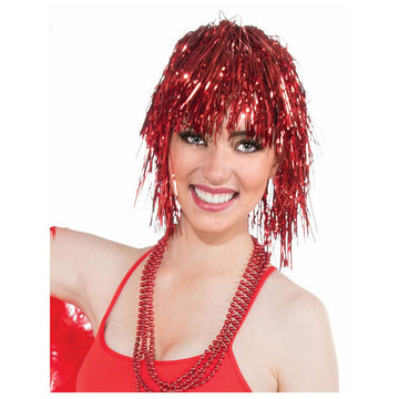 Red Tinsle Wig