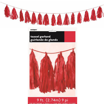Red Tissue Tassel 9' Garland