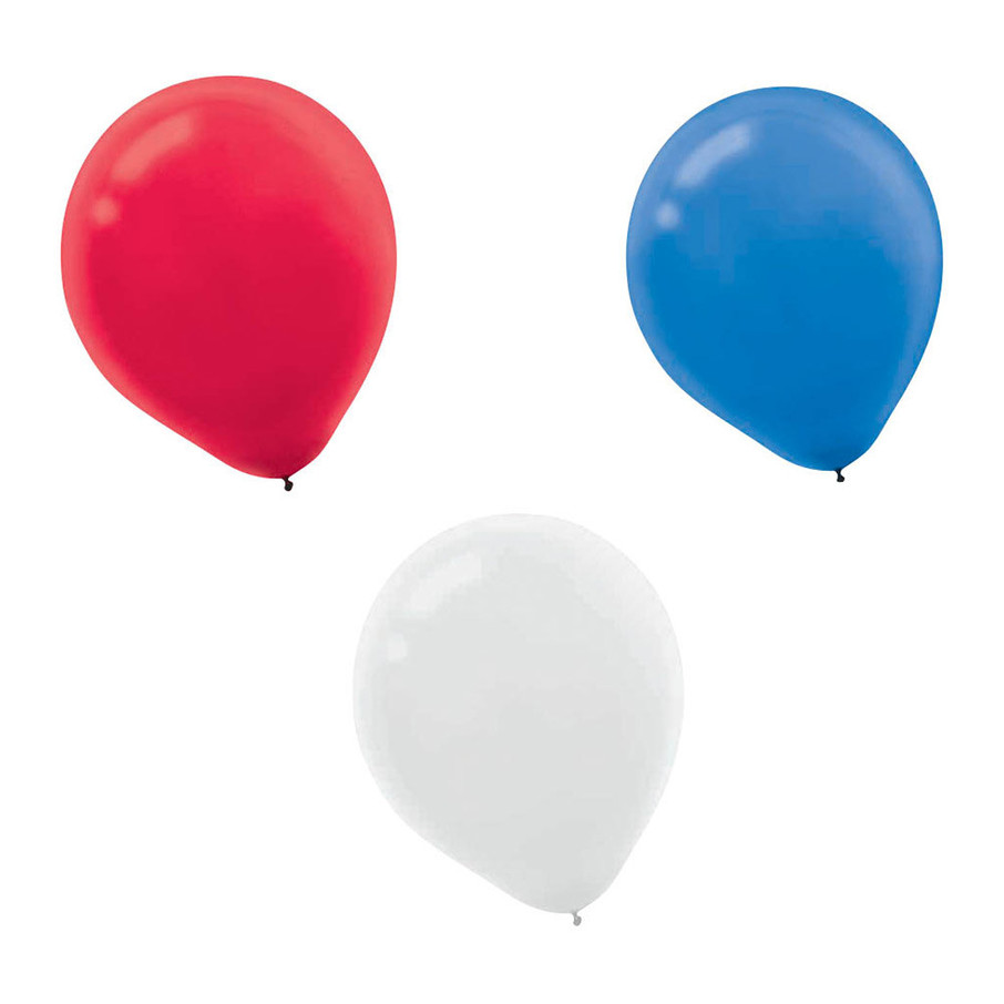 "View larger image of Red, White, and Blue 12"" Latex Balloons (72 Count)"
