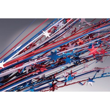 "Red, White & Blue Metallic Star 19"" Spray (12 Count)"