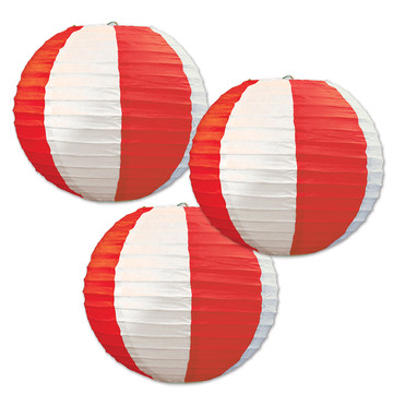 Red White Striped Round Paper Lanterns