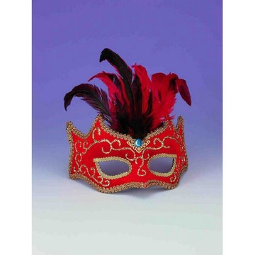 Red With Gold Trim And Feathers Half Mask