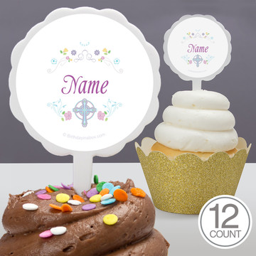Religious Party Personalized Cupcake Picks (12 Count)
