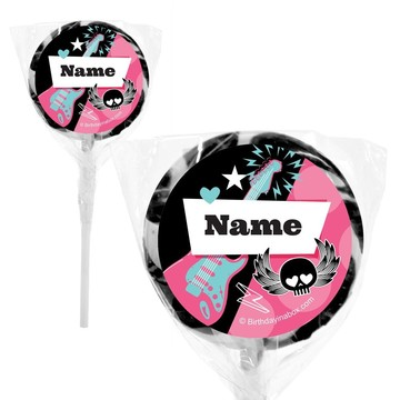 "Rock Star Girl Personalized 2"" Lollipops (20 Pack)"