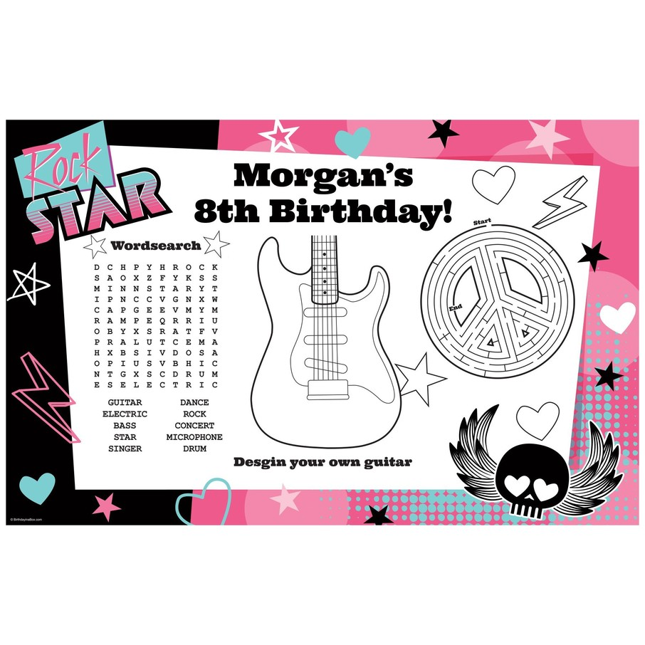 View larger image of Rock Star Girl Personalized Activity Mat (8 Pack)