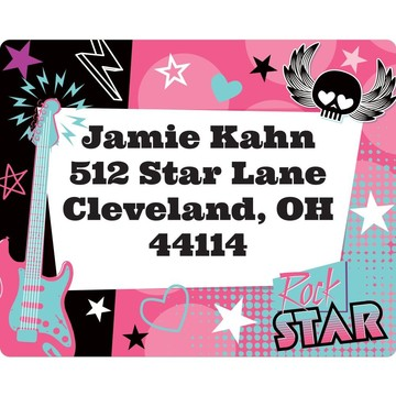 Rock Star Girl Personalized Address Labels (Sheet Of 15)