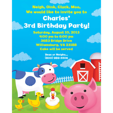 Farm Animals Personalized Invitation (Each)