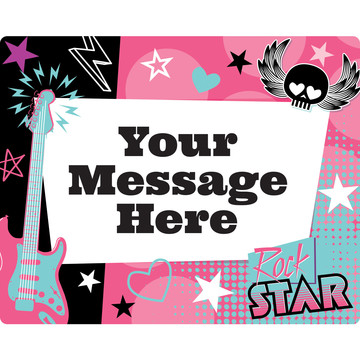 Rock Star Girl Personalized Rectangular Stickers (Sheet of 15)