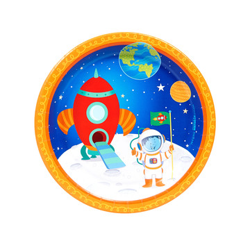 Rocket to Space 7 Dessert Plates (8)