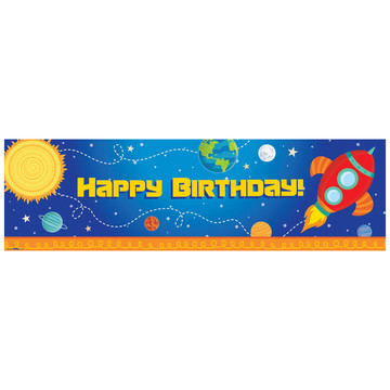 Rocket to Space Birthday Banner