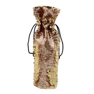 Rose Gold Gold Reversible Sequin Wine Bag