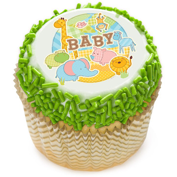 "Safari Baby 2"" Edible Cupcake Topper (12 Images)"