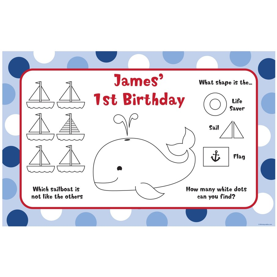 View larger image of Sail Party Personalized Activity Mats (8-Pack)