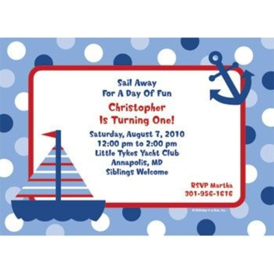 View larger image of Sail Party Personalized Invitation (each)