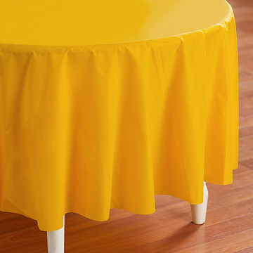 School Bus Yellow (Yellow) Round Plastic Tablecover