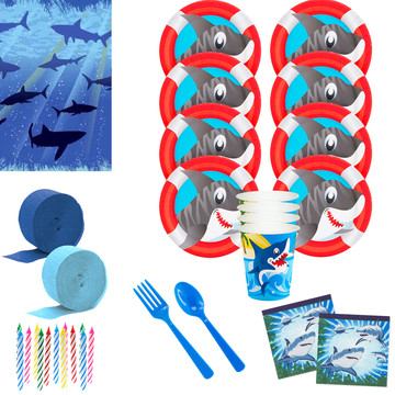 Shark Party Deluxe Tableware Kit (Serves 8)